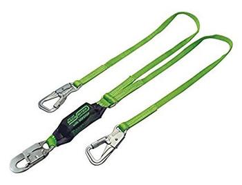 Miller 6 ft. StretchStop Double Leg Lanyard w/ SofStop Shock Asborber w/1 Snap Hook & 2 Rebar Hooks - 8798B/6FTGN