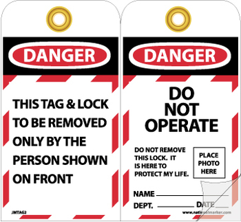 TAGS, DANGER DO NOT OPERATE, 7 3/8X4, HVY PAPER SELF LAMINATING