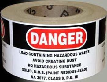 Danger Lead Label 500/Roll self-adhesive