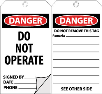 TAGS, DANGER DO NOT OPERATE, 6X3, SELF LAMINATION FRONT, 10/PK