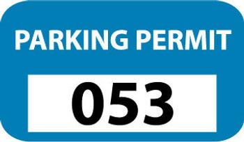 PARKING PERMIT, BUMPER, BLUE, 001-100