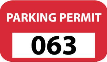 PARKING PERMIT, BUMPER, RED, 301-400