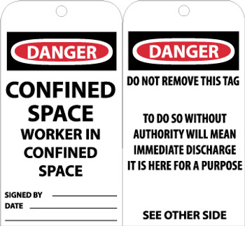 TAGS, CONFINED SPACE WORKER IN CONFINED SPACE, 6X3, .015 MIL UNRIP VINYL, 25 PK
