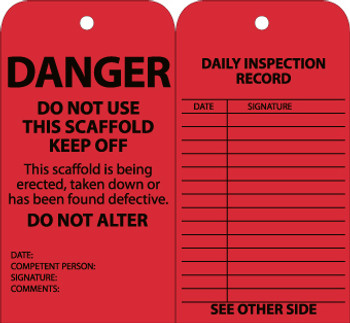 TAGS, SCAFFOLD INSPECTION, RED, 6X3, CARDSTOCK WITH GROMMET, 25/PK
