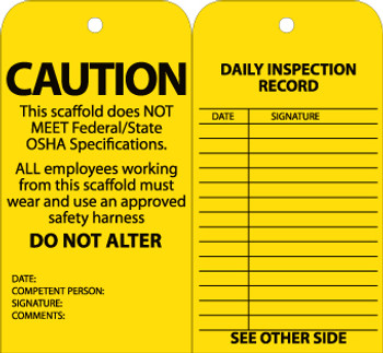 TAGS, SCAFFOLD INSPECTION, YELLOW, 6X3, CARDSTOCK WITH GROMMET, 25/PK