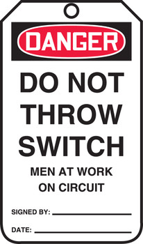 Do Not Throw Switch Men At Work On Circuit  - MDT116FTM