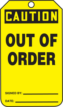 """Caution Out Of Order 8 1/2"""" x 3 7/8"""" - MDT686FTP"""