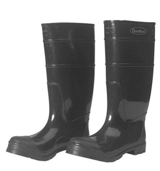 """Black 16"""" PVC Boots with Steel Toe [Choose Size]"""