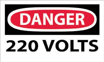 DANGER, 220 VOLTS, 3X5, PS VINYL, 5/PK