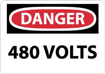 DANGER, 480 VOLTS, 7X10, RIGID PLASTIC