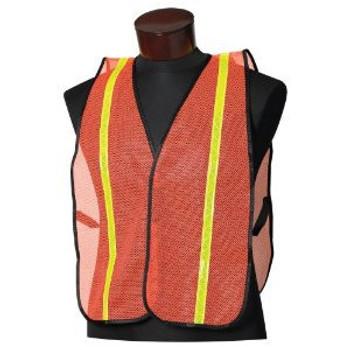 "Orange Safety Vest w/ 3/4"" Lime Hi-Viz Striping"