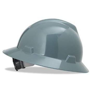 MSA V-Hat Full Brim Gray Ratchet Hard Hat - 475367
