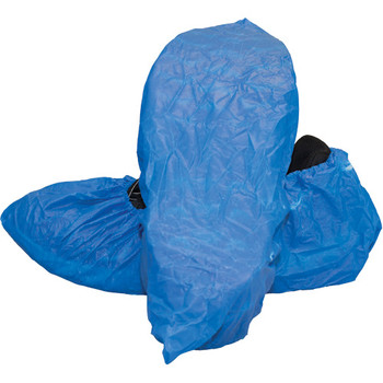 Disposable Blue Polyethylene Plastic Shoe Covers - 1000 each/cs