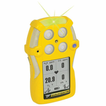 BW GasAlertQuattro Alkaline Battery Multi-Gas Detector QT-XWHM-A-Y-NA [LEL, o2, co, H2S]