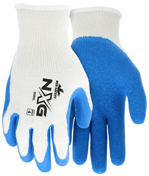 MCR Safety NXG Work Gloves 10 Gauge Cotton Polyester Shell Blue Latex Palm - 9680 - Pair