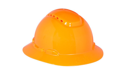 3M Full Brim Hard Hat H-807V - Hi-Vis Orange 4-Point Ratchet Suspension - Vented - 20 EA/Case