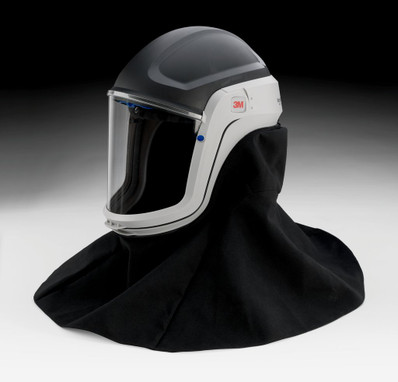 The M-407 Assembly includes a M-927 Premium Visor, M-444 Inner Collar, and M-447 Flame Resistant Outer Shroud.  The M-927 visor is made of coated polycarbonate.  The M-447 shroud is made of Nomex® flame resistant fibers.