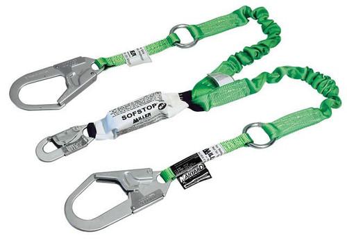 Miller 6 ft. double leg Web Lanyard w/SofStop 1 locking snap hook and 2 locking rebar hooks 980WRS-Z7/6FT