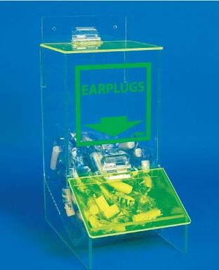 ACRYLIC, EAR PLUGS DISPENSER WITH COVER