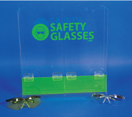ACRYLIC, SAFETY GLASSES DISPENSER DOUBLE COMPARTMENT