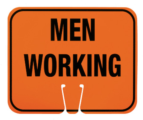 SAFETY CONE SIGNS, MEN WORKING, 10.375 X 12.625