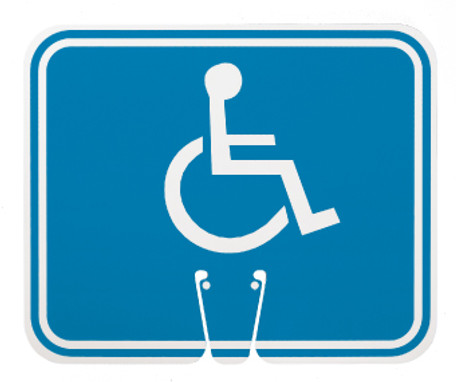 SAFETY CONE SIGNS, HANDICAPPED, 10.375 X 12.625