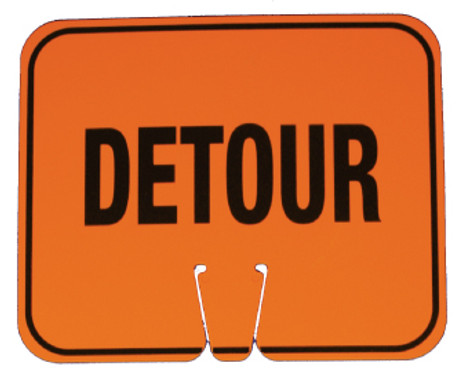 SAFETY CONE SIGNS, DETOUR, 10.375 X 12.625