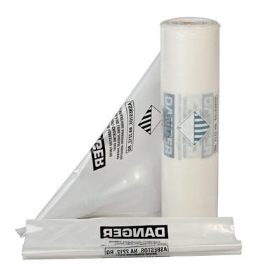 "6 Mil Clear 33""x50"" Printed Asbestos Bags 75/roll"