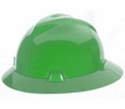 MSA V-Hat Full Brim Green Ratchet Hard Hat - 475370