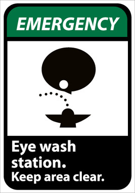 EMERGENCY, EYE WASH STATION KEEP AREA CLEAR (W/GRAPHIC), 10X7, PS VINYL