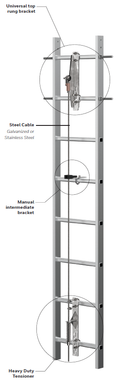Miller Vi-Go Ladder Climbing Safety System for Universal Top Rungs w/ Manual Pass-Through - Stainless Steel (Cable)