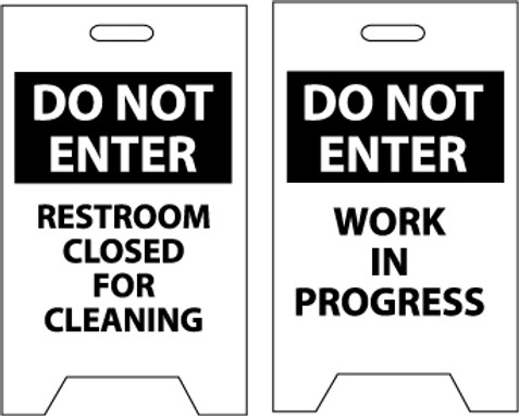 FLOOR SIGN, DBL SIDE, DO NOT ENTER RESTROOM CLOSED FOR CLEANING DO NOT ENTER WORK IN PROGRESS, 20X12
