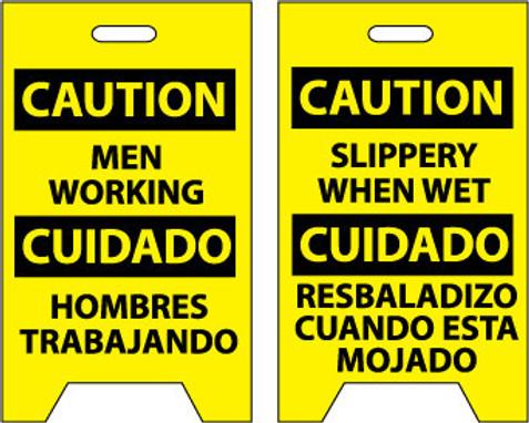 FLOOR SIGN, DBL SIDE, CAUTION MEN WORKING CAUTION SLIPPERY WHEN WET (BILINGUAL), 20X12