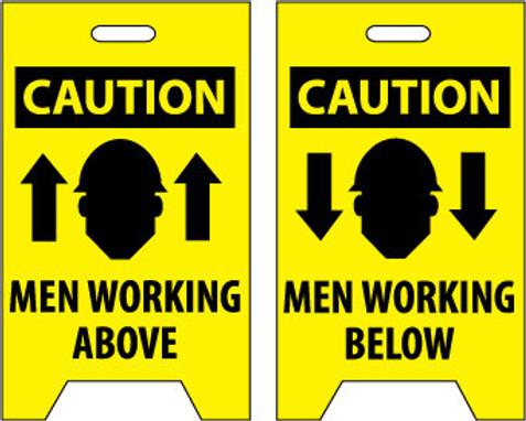 FLOOR SIGN, DBL SIDE, CAUTION MEN WORKING ABOVE CAUTION MEN WORKING BELOW, 20X12