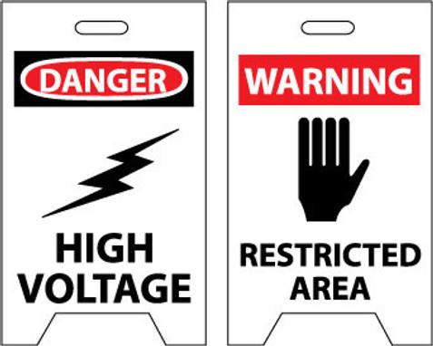 FLOOR SIGN, DBL SIDE, DANGER HIGH VOLTAGE WARNING RESTRICTED AREA, 20X12