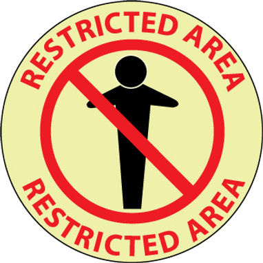 "FLOOR SIGN, GLOW WALK ON, RESTRICTED AREA, 17"" DIA"