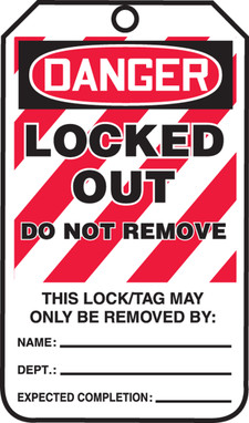 Danger Locked Out Do Not Remove  - FRMLT418FTP