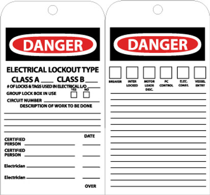 TAGS, DANGER ELECTRICAL LOCKOUT TYPE A CLASS B, 7 3/8X4, UNRIP VINYL