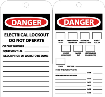 TAGS, DANGER ELECTRICAL LOCKOUT DO NOT OPERATE, 7 3/8X4, UNRIP VINYL