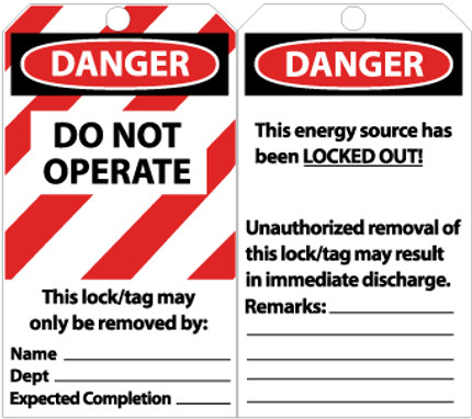TAGS, LOCKOUT, DANGER DO NOT OPERATE, 6X3, ENCASED LAMINATION