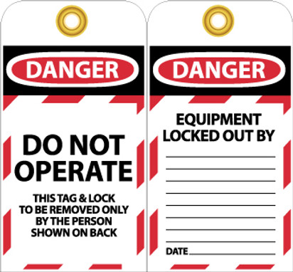 TAGS, LOCKOUT, DO NOT OPERATE, 6X3, UNRIP VINYL, 25/PK