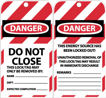 TAGS, DO NOT CLOSE, 6X3, UNRIP VINYL 10/PACK