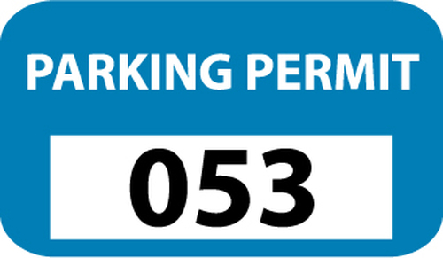 PARKING PERMIT, BUMPER, BLUE, 301-400