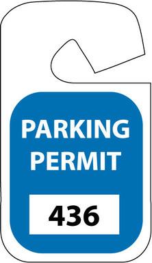 PARKING PERMIT, REARVIEW MIRROR, BLUE, 101-200