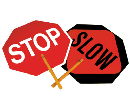 """SAFE-T-PADDLE SIGN, STOP/SLOW, 10"""" HANDLE"""