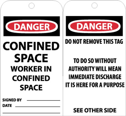 TAGS, CONFINED SPACE WORKER IN CONFINED SPACE, 6X3, .015 MIL UNRIP VINYL, 25 PK W/ GROMMET