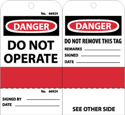 TAGS, DANGER DO NOT OPERATE, GROMMET, (PERFERATED/SEQUENTIAL NUMBER), 6X3, UNRIP VINYL, 25/PK