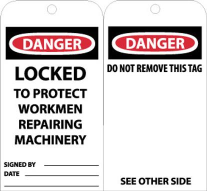 TAGS, DANGER LOCKED TO PROTECT WORKMEN REPAIRING. . ., 6X3, UNRIP VINYL, 25/PK W/ GROMMET