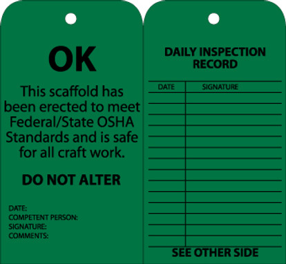 TAGS, SCAFFOLD INSPECTION, GREEN, 6X3, CARDSTOCK WITH GROMMET, 25/PK
