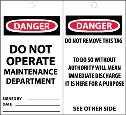 TAGS, DANGER, DO NOT OPERATE MAINTENANCE DEPARTMENT, 6X3, SYTNETIC PAPER, 25/PK